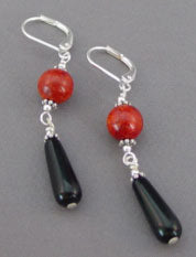 Hot Red Coral Black Onyx Teardrop Earrings Silver Jewelry