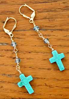 Turquoise Gemstone Cross Dangle Earrings Handmade