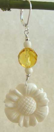 Big Faceted Citrine White Daisy Earrings Flower Jewelry