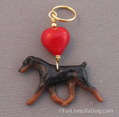 Doberman Dog Pendant Natural Ear Gold Red Lampwork Heart