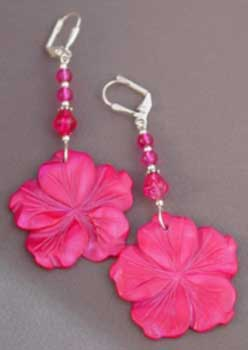 Fabulous Fuschia Flower Earrings Pink Jewelry