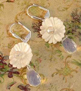 Brilliant Briolette Flower Earrings Silver Jewelry