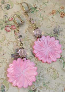 Hot Pink Vintage Flower Earrings Handcrafted Jewelry