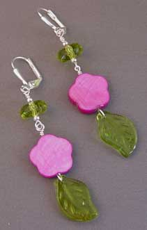Wild Violet Flower Earrings Silver Peridot Jewelry