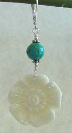 Turquoise Carved Bone Flower Earrings Silver Jewelry