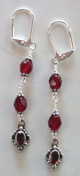 Faceted Garnet Crystal Silver Dangle Earrings Victorian Jewelry