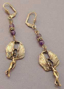 Fairy Goddess Amethyst Earrings Handcrafted Jewelry