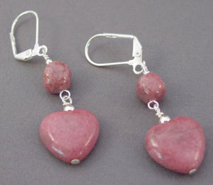 Sweet Pink Heart Earrings Silver Handcrafted Jewelry