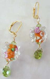Artisan Lampwork Carnelian Peridot Earrings Gemstone Jewelry