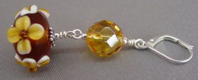 Big Faceted Citrine Lampwork Earrings Artisan Jewelry