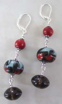 Red Coral Smoky Quartz Artisan Lampwork Earrings Silver Jewelry