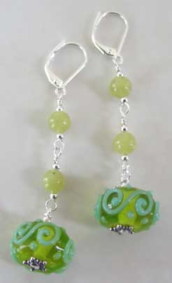Peridot Jade Artisan Lampwork Earrings Silver Jewelry