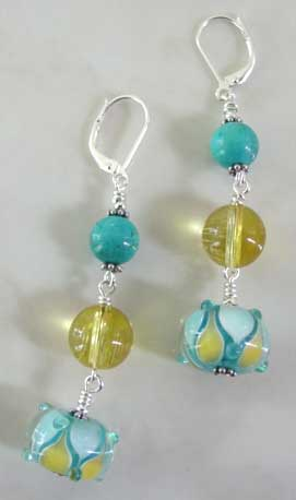 Turquoise Citrine Artisan Lampwork Earrings Handcrafted Jewelry