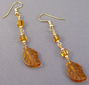 Golden Amber Leaves Dangle Earrings Gold Jewelry