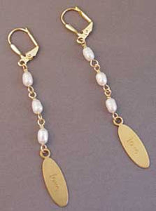 Love Affirmation Earrings Freshwater Pearls on Gold