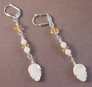 Wedding White MOP Citrine Earrings Silver Gemstone Jewelry