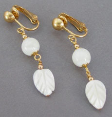 Mother of Pearl Leaf Clip On or Pierced Earrings Gold Jewelry