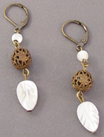Mother of Pearl Leaf Dangles Earrings Victorian Jewelry