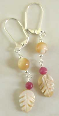 Pink Rhodonite Mother of Pearl Leaf Earrings Silver Jewelry