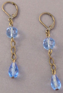 Blue Crystal Vintage Brass Earrings Handcrafted Jewelry