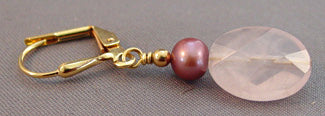 Raspberry Pink Pearl Earrings Gold Handcrafted Jewelry