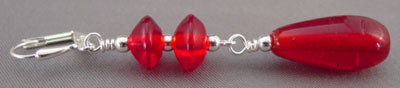 Red Earrings Vintage Beads Silver Jewelry