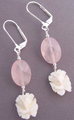 Faceted Pink Quartz Vintage Ivory Rosebuds Earrings Flower Jewelry