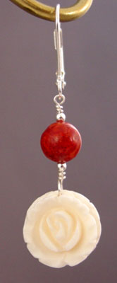 Vintage Ivory Roses Red Coral Earrings Romantic Jewelry