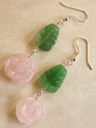 Pink Rose Garden Dangle Earrings Silver Jewelry