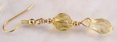 Citrine Yellow Faceted Teardrop Earrings Crystal Jewelry