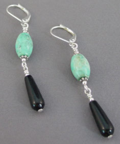 Turquoise Black Onyx Teardrop Earrings Silver Jewelry