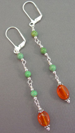 Delicate Turquoise Carnelian Sterling Silver Earrings Jewelry