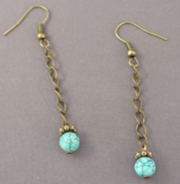 Turquoise Vintage Brass Dangle Earrings Victorian Jewelry