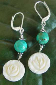 Vintage Ivory Rose Turquoise Earrings Silver Flower Jewelry