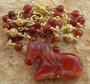 Carnelian Gold Horse Necklace Equestrian Jewelry