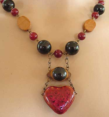 Dramatic Blind Heart Necklace Chunky Handcrafted Jewelry