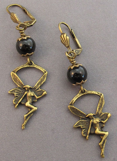 Fairy Earrings Vintage Brass Black Obsidian