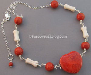 Chunky Dog Bone Necklace Fat Red Coral Heart