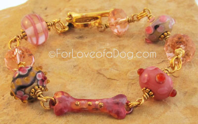 Copper Dog Bone Bracelet Mauve Pink Lampwork Gold