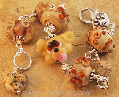 Yellow Dog Lampwork Bracelet Carmel and Silver