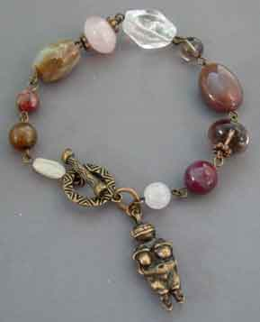 Chunky Fertility Goddess Bracelet Multi Gems with Vintage Brass
