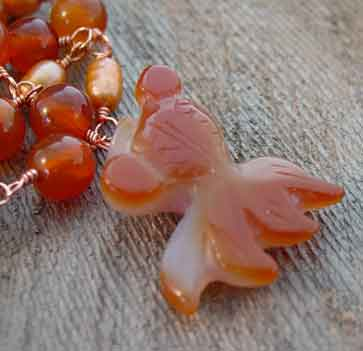 Lucky Koi Carnelian Freshwater Pearls Necklace Copper Jewelry