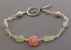 Coral Flower Bracelet Pink Pearls Green Leaves Silver