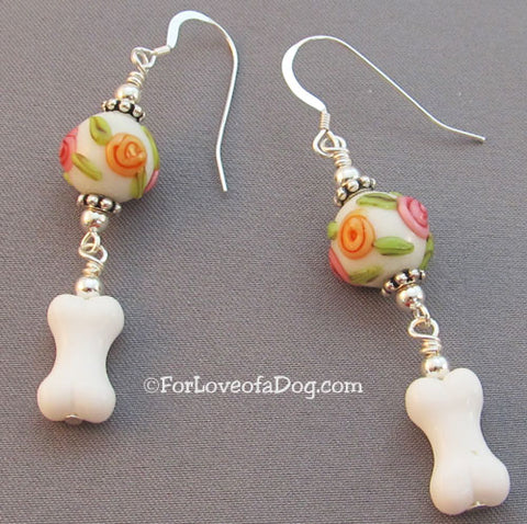 Dog Bone Earrings Pink Yellow Roses Lampwork on Sterling Silver