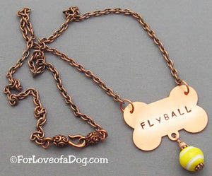 Flyball Dog Bone Necklace Tennis Ball on Copper