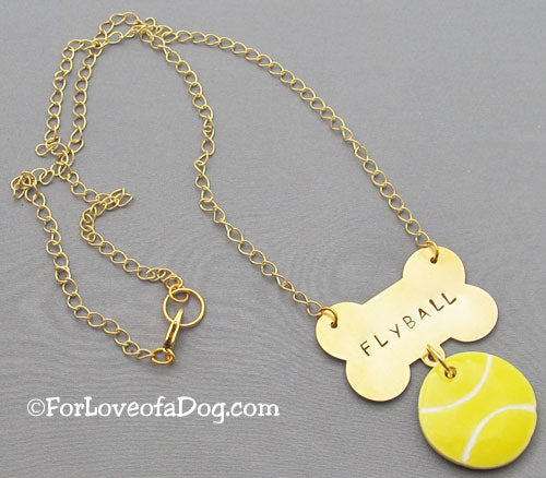 Flyball Tennis Ball Necklace Gold Dog Bone
