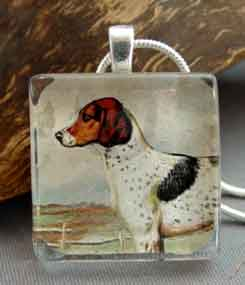 Foxhound Necklace Vintage Art Dog Breed Jewelry