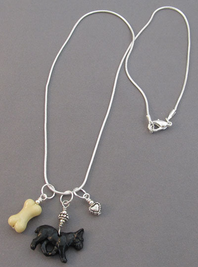 Black French Bulldog Charm Necklace Dog Bone Silver Heart