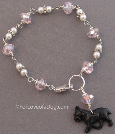 Black French Bulldog Dog Bracelet Pearls Pink Crystals Silver