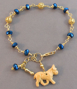 Fawn French Bulldog Bracelet Sapphire Crystals Gold